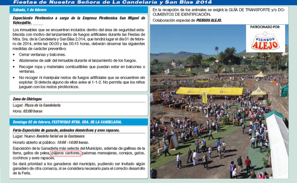 Programa de fiesta 2014.