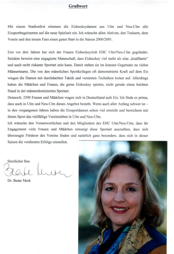 Grußwort an den EHC Ulm / Neu-Ulm