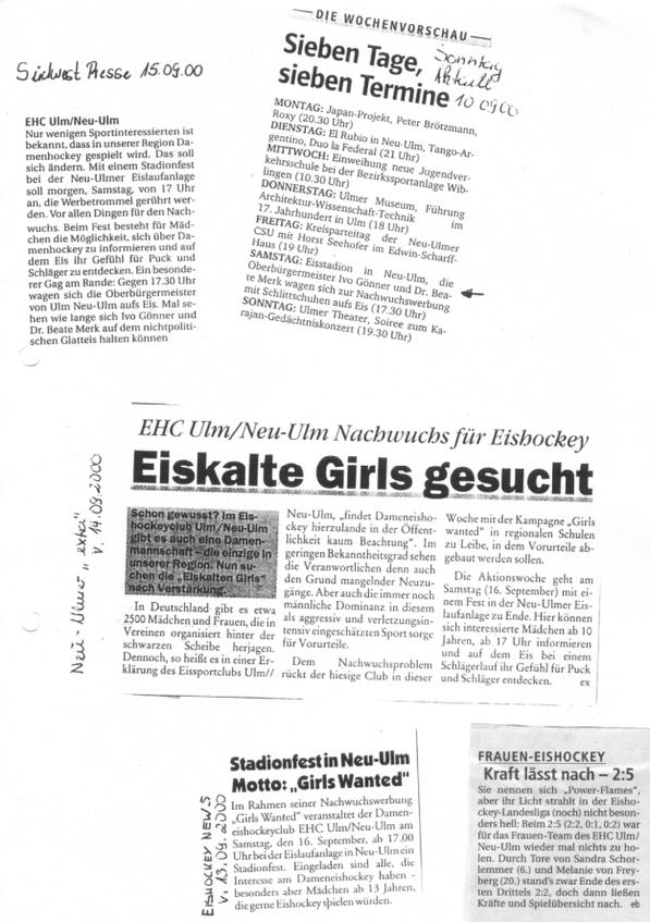 Pressemitteilungen EHC Ulm / Neu-Ulm, 2000