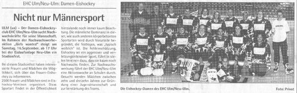 EHC Ulm / Neu-Ulm im Neu-Ulmer Anzeiger Info