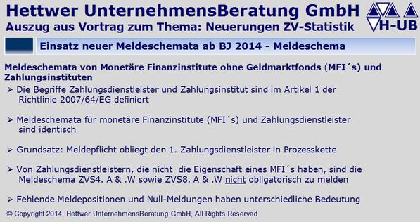 Zahlungsverkehrsstatistik Einsatz neuer Meldeschemata ab BJ 2014 – Meldeschema monetäre Finanzinstitute MFI´s Zahlungsinstitute ZVStatistik ZVS1 ZVS2 ZVS3 ZVS4.A ZVS4.W ZVS5.A ZVS5.W ZVS8.A ZVS8.W Klaus Georg Hettwer UnternehmensBeratung GmbH
