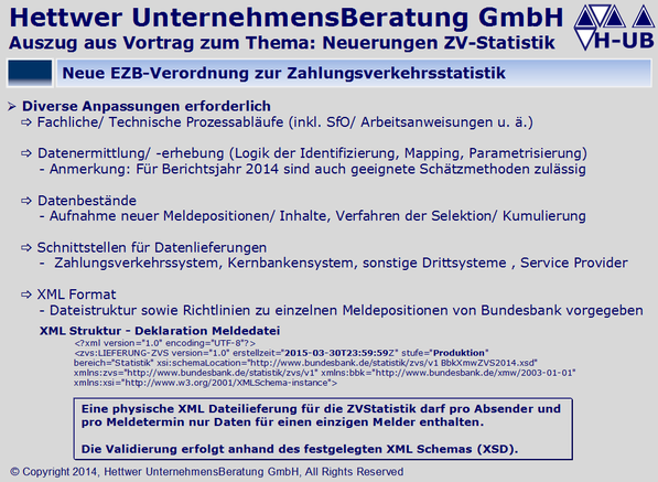 Zahlungsverkehrsstatistik XML Struktur  Deklaration Meldedatei Datenlieferungen Zahlungsverkehrssystem Schätzmethoden ZV-Statistik ZVS1 ZVS2 ZVS3 ZVS4.A ZVS4.W ZVS5.A ZVS5.W ZVS8.A ZVS8.W Klaus Georg Hettwer UnternehmensBeratung GmbH