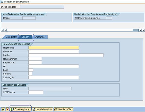 SEPA SAP Mandat ergänzen