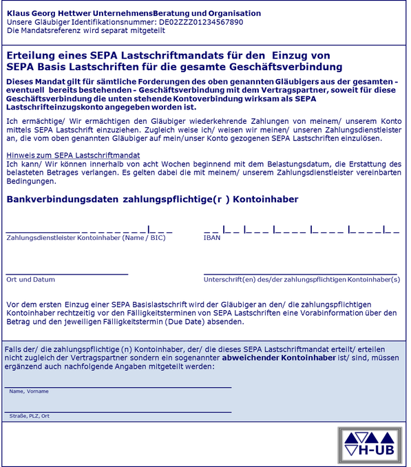 SEPA Mandatsvertrag – SEPA Mandat Vorlage Angaben Formular - HUB