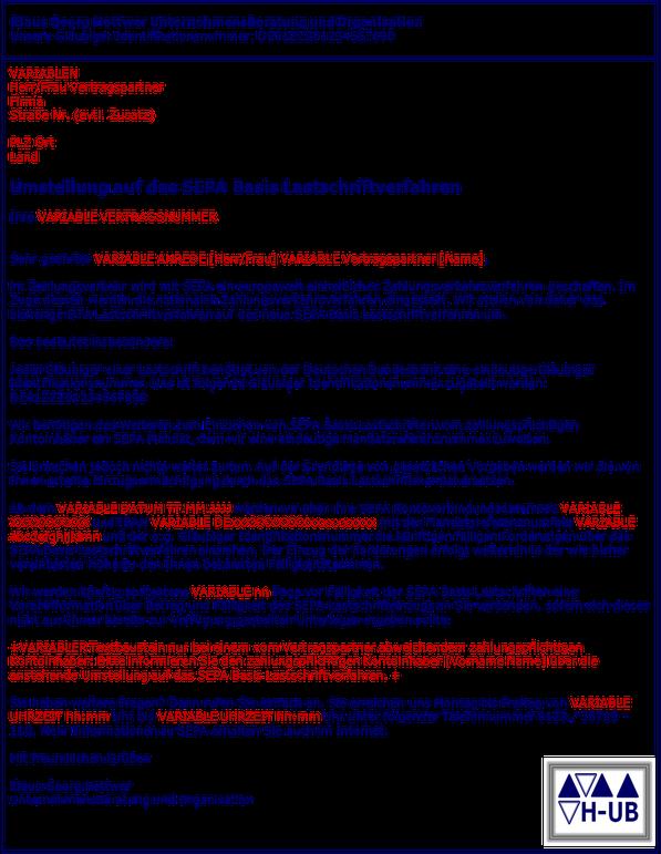 SEPA Migration Brief Umstellung Einzugsermächtigung Mandate www.hettwer-beratung.de