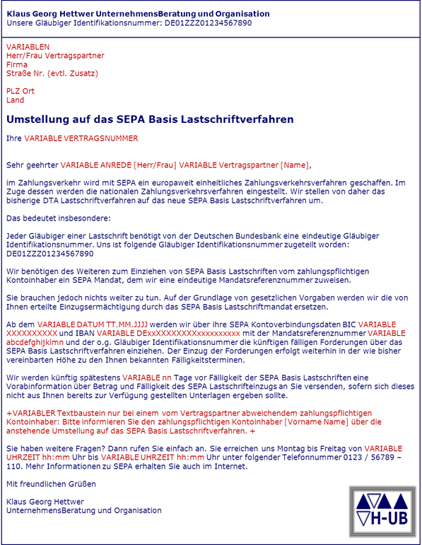 Sepa Migrationsbrief Migration Einzugsermächtigung Sepa Mandat