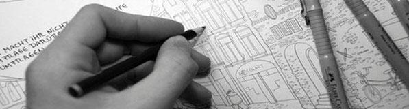 Hannes Mercker beim Anfertigen einer Zeichnung (Ausschnitt)