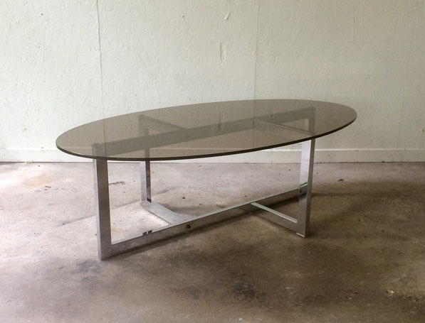 table basse 70's, table chromée