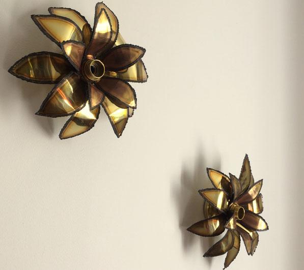 lampe fleur laiton, maison Jansen, lampe vintage