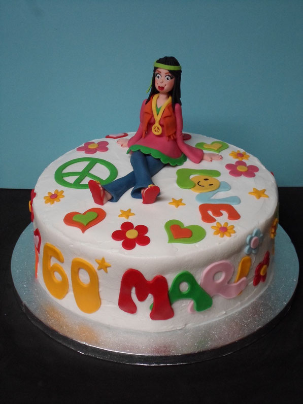 Tarta hippie power flower para mari for Decoracion piso hippie