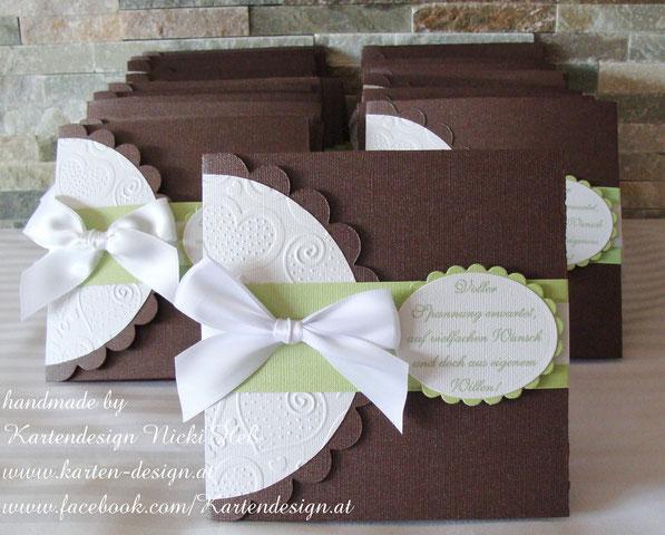Hochzeitseinladungen von Kartendesign Nicki Heß; Einladungen zur Hochzeit - Design HERZPÄRCHEN; Exklusiv, indiviudell, einzigartig, in Handarbeit, gebastelte Hochzeitskarte
