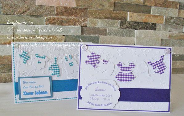 Glückwunschkarte zur Geburt, Babykarte, Wäscheleine, Karo, Geburtskarte, Kartendesign, Nicki Heß