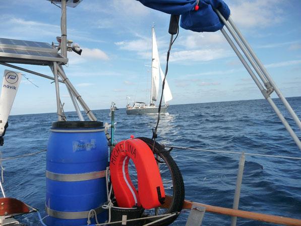 Freude auf hoher See. SY-MICHELINA trifft SY-BONAFIDE