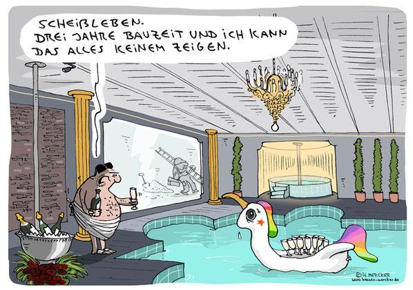 tagesaktueller Cartoon von H. Mercker zur Coronakrise 2020 - 2021.