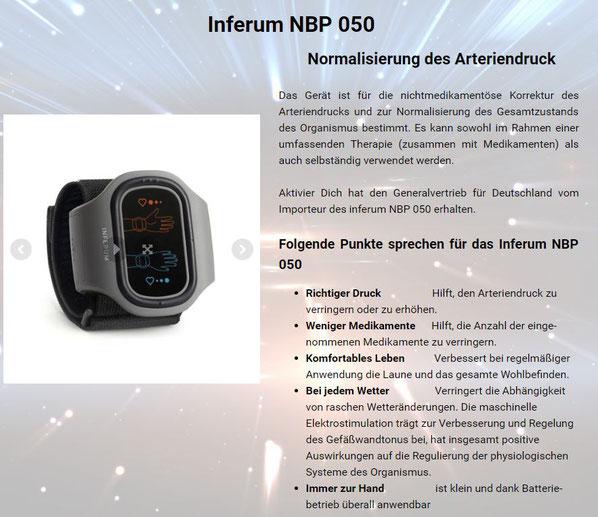 Inferum NBP 050  Normalisierung des Arteriendruck