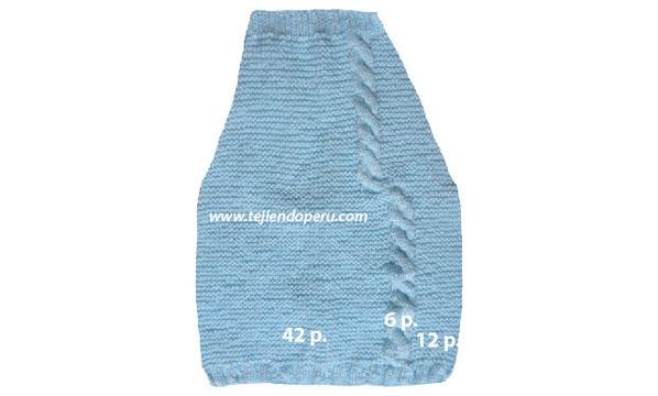 Pantalón y cobija con trenzas para bebés tejido en dos agujas o palitos