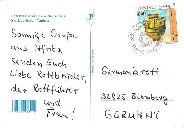 Karte aus Tunesien an das Germania-Rott