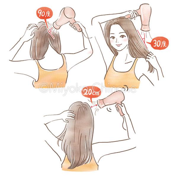 髪を乾かしている女性のイラスト