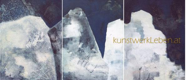 TRYPTICHON BERGE, Acryl auf Leinwand, gerahmt in hochwertiger Schattenfuge, 180cm breit x 80cm hoch