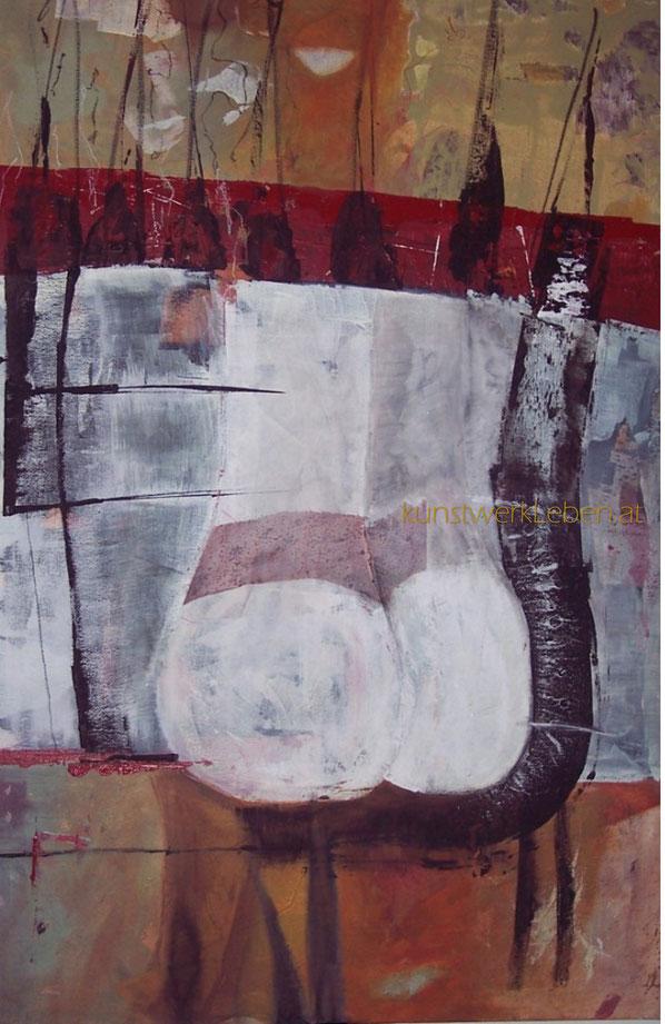 AKT AM FENSTER, Acryl auf Leinwand, 60cm breit x 90cm hoch