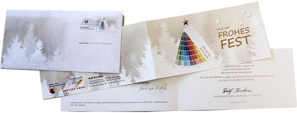 Weihnachtskarte mit Kuvert als Mailing.