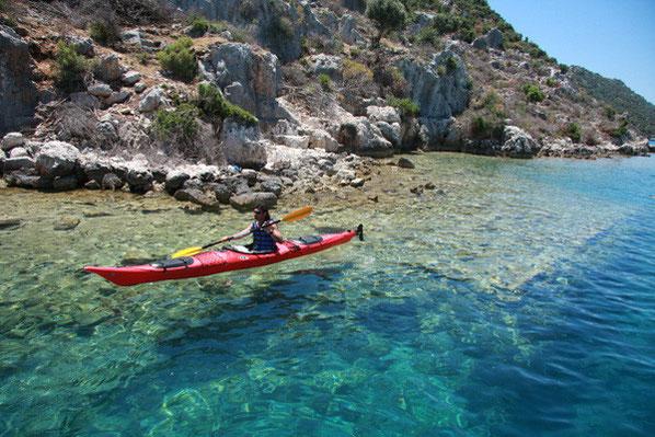 Sea Kayaking über die Sunken City bei Kekova, Lykische Küste Türkei