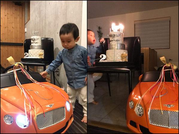 納車おめでとうございます🎉🎉 2歳お誕生日おめでとうございます🎊😍 2歳でベントレーオーナー🎉🎀 #納車記念 #ベントレーコンチネンタルgt #オレンジ #高級車 #ベントレー #おもちゃ #電気ついてる #納車 #ハッピー #可愛い #男の子誕生日 #😆