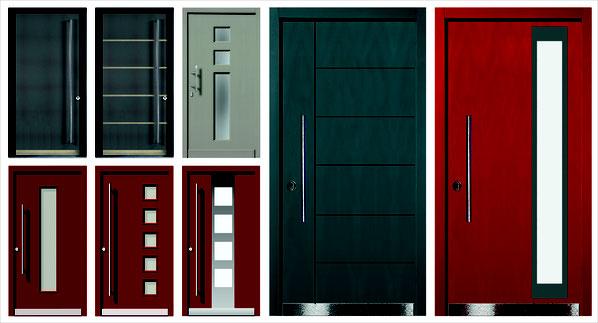 Rote Haustür im Landhausstil maßgefertigt vom Schreiner