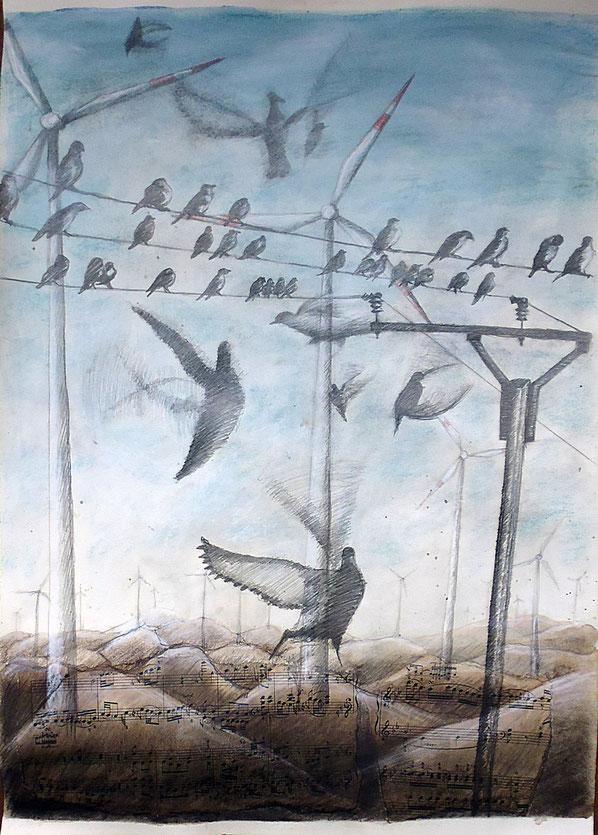 Vögel vor Windrädern