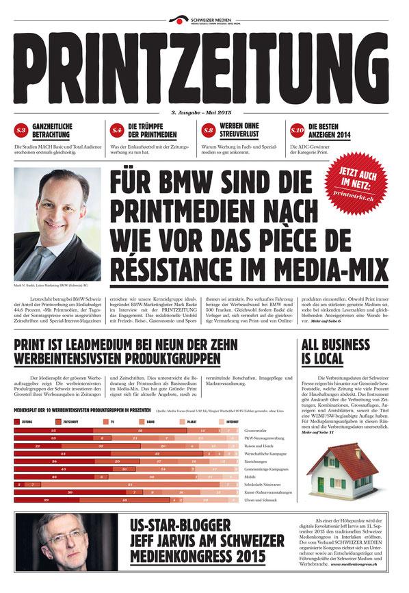Gut gemachte Eigenwerbung: Die Mediengattung Print wird in der «Printzeitung» attraktiv dargestellt.