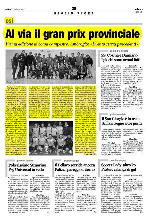 Articolo su Calabria Ora (clicca per ingrandire)