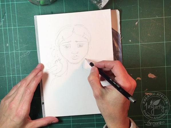 Bleistift Skizze von Porträt Mädchen und Vogel auf der Schulter