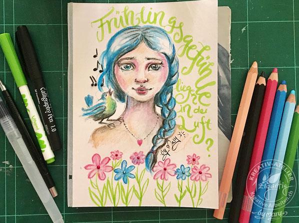 """Fertige Illustration """"Frühlingsgefühle"""". Gezeichnet mit Farbstiften Aqua-XXL von Gonis, Wassertankpinsel von Gonis und Brushpen von Maped"""