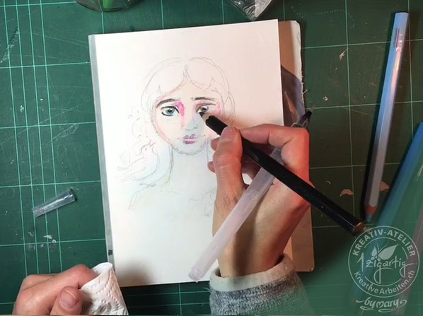 Mit Farbstiften von Gonis, Aqua-XXL male ich die Skizze aus und intensiviere die Farben mit dem Wassertankpinsel