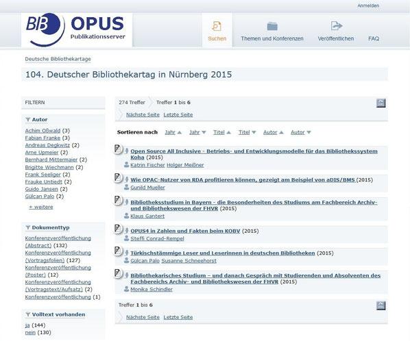 Screenshot der Einstiegsseite für die Vorträge vom 104. Deutschen Bibliothekartag in Nürnberg auf dem OPUS-Server des BIB