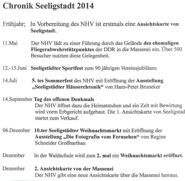 Bild: Seeligstadt Chronik 2014
