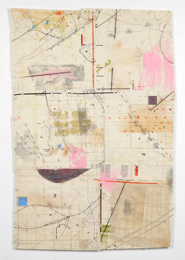 "Map No. 3, acrylic, drawing media, chalk line & collage on collaged geological map, 36""x 29"", 2019. NFS"