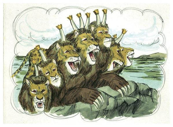 Jean voit une bête extraordinaire et terrifiante qui sort de la mer. Cette bête a 7 têtes avec des noms blasphématoires et 10 cornes portant des diadèmes. Elle ressemble à un léopard, un ours et un lion. Son autorité et sa puissance lui viennent du dragon