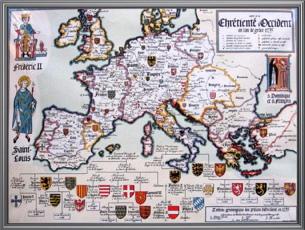 Mapa del España y los diferentes reinos que la conformaban.