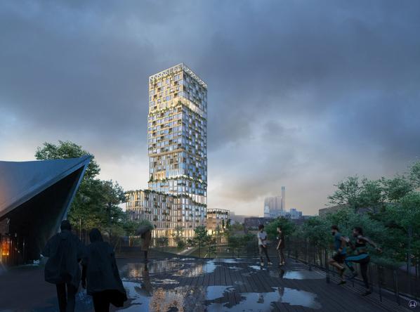Ansicht des geplanten WoHo - Wohnturm des Büros Mad arktiker vom Tempodrom aus