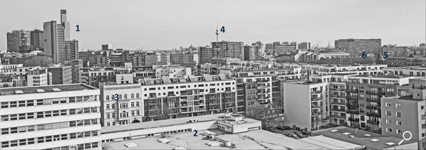 Dach der Lützowstraße. Erklärung der Gebäude 1