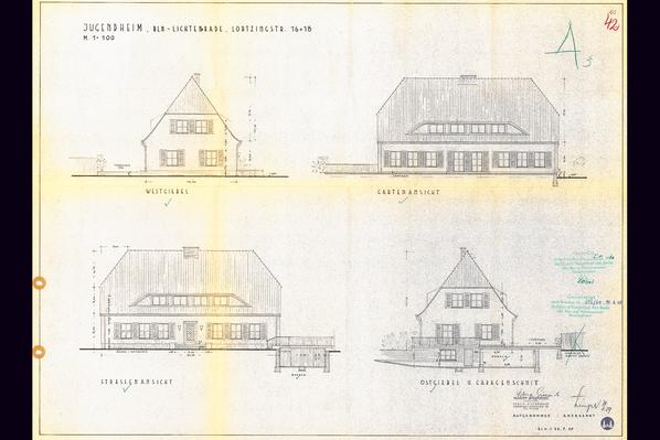 Lortzingclub in Berlin - Lichtenrade. Bestandszeichnung von 1959