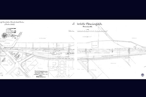 Gleisplan des Bahnhofs Marienfelde von 1892.