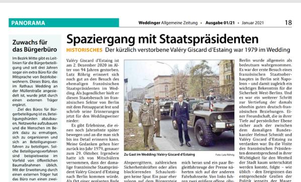 Artikel Weddinger Allgemeine Zeitung