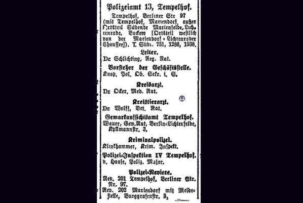 Das Tempelhofer Tivoli an der Friedrich - Karl - Straße. Eintrag des neuen Polizeiamtes in der Friedrich-Karl-Straße von 1925.