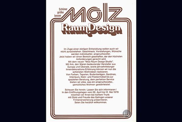 Berlin Mariendorfer Damm Molz Raumdesign 1978 Ladenerweiterung Anzeige