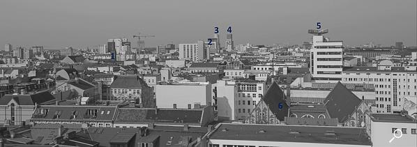 Dach der Lützowstraße. Erklärung der Gebäude 6