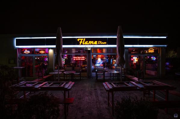 Das Flame-Diner in Berlin-Marienfelde. Außenfassade.