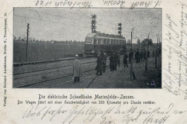 Postkarte der Versuchsfahrten der Militäreisenbahn von 1903.