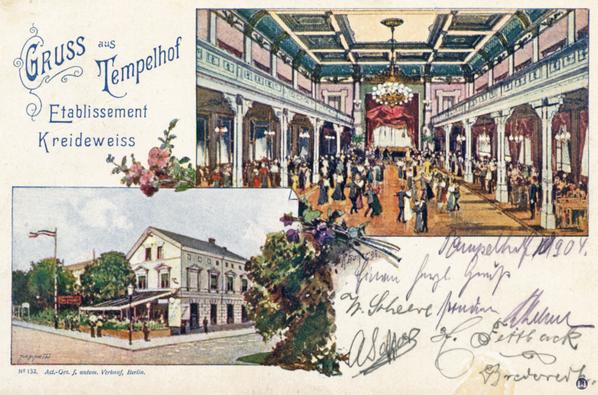 """Die Gaststätte """"Kreideweiss"""" in Tempelhof um 1900."""
